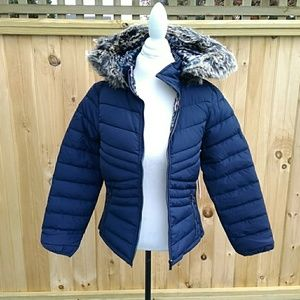 12 Pm By Mon Ami Jackets & Coats - Reversible solid/leopard puffer jacket w/ hood